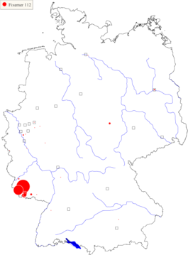 Karte 1: Verbreitung des Familiennamens Fixemer (Quelle: Digitales Familiennamenwörterbuch Deutschlands)
